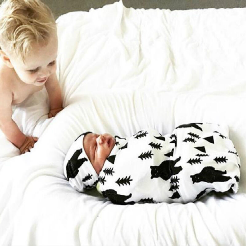 Newborn Baby Boy Cocoon Swaddle Blanket Sleeping Swaddle Muslin Wrap Hat Lovely 4