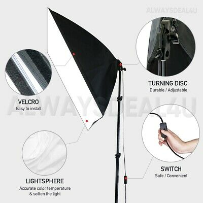 1350W Photography Studio Softbox Continuous Lighting Soft Box Light Stand Kit UK 8