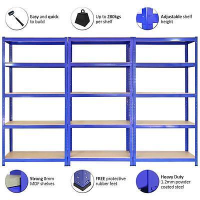 3 Racking Shelving Bays 5Tier Garage Unit Storage Racks Heavy Duty Steel Shelves 5