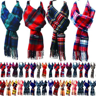 Womens Mens Winter 100% Cashmere Plaid check Scarves Wool Scarf Scotland Made 2