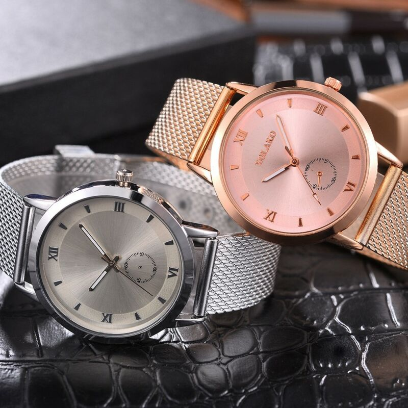 UK Women Ladies Rose Gold Silver Plated Stainless Steel Geneva Wrist Watch 5