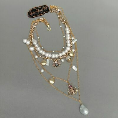 layered chain White Pearl Cz insect multi-layer charm necklace 5