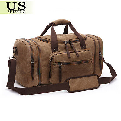 Canvas Travel Tote Luggage Large Men's Weekend Gym Shoulder Duffle Bag & Strap 6