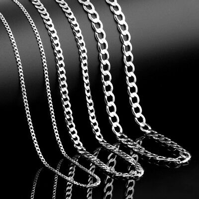 2-12mm Men's Stainless Steel Silver 316L Curb Link Chain Chunky Necklace 2