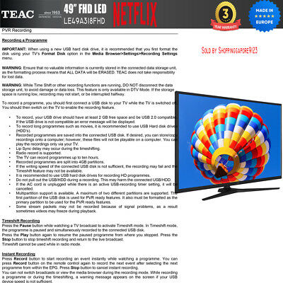 """TEAC 49"""" Inch FHD SMART TV Netflix Youtube Freevie Made In Europe 3Year Warranty 9"""