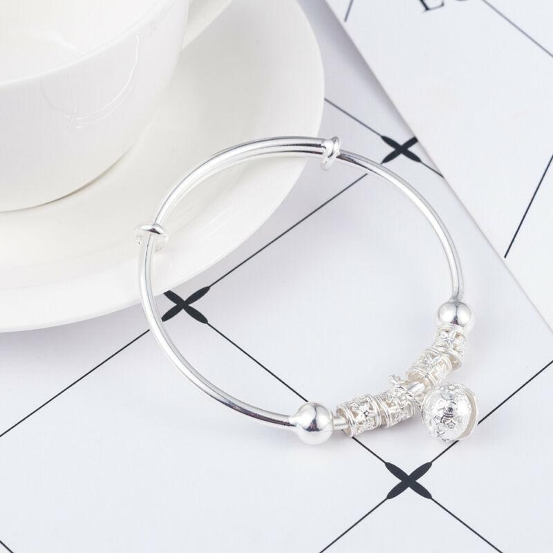 Fashion Women Jewelry 925 Sterling Silver Plated Cuff Bracelet Charm Bangle Gift 10
