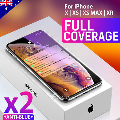 2X Apple iPhone XS Max XR X 6D Full Cover Screen Protector Tempered Glass Black 10