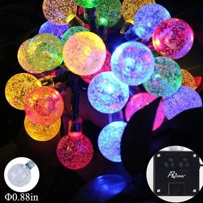 50 LED solaire de jardin alimenté fée partie chaîne boule de cristal lumière 4