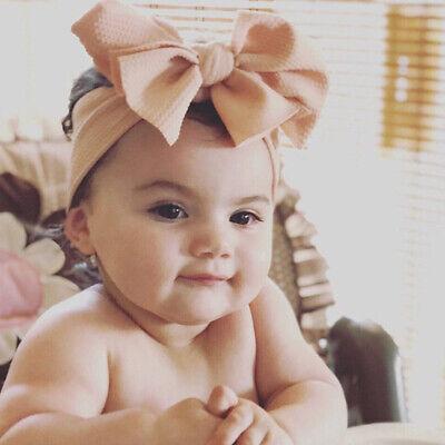 Baby Girls Large Bow Turban Headband Hair band Head Wrap Cute Kids Plain Stretch 4