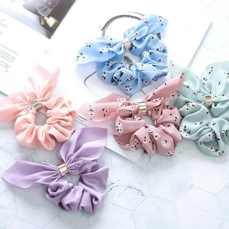 Women Simple Satin Ribbon Bow Hair Rope Ponytail Holder for Hair Accessories 4