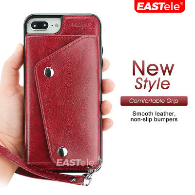 NEW iPhone XS MAX XR X 7 8 Plus Luxury Leather Wallet Card Shockproof Case Cover 10