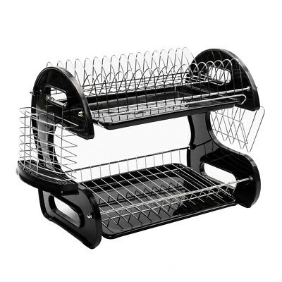Large Capacity 2 Tier Dish Drainer Drying Rack Kitchen Storage Stainless Steel 7