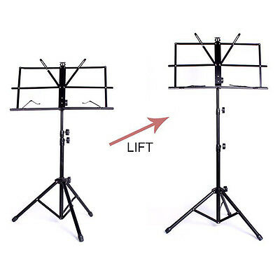 Metal Adjustable Sheet Music Stand Holder Folding Foldable WITH CARRY CASE BAG 3