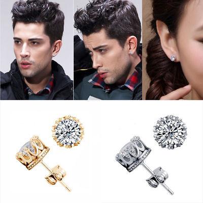 6/8/10mm Men Women Sterling Silver Post Stud Crown Cubic Zirconia Earrings Gift