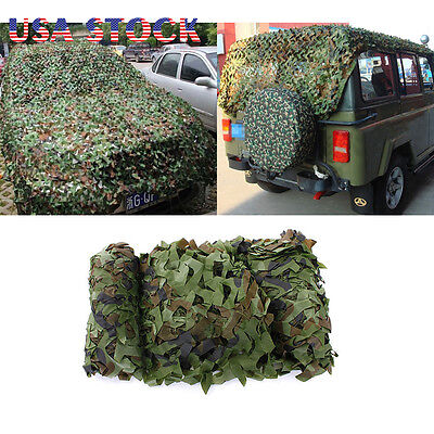 Woodland Camouflage Netting Military Camo Net Hunting w/ String Backing 13x10ft 4