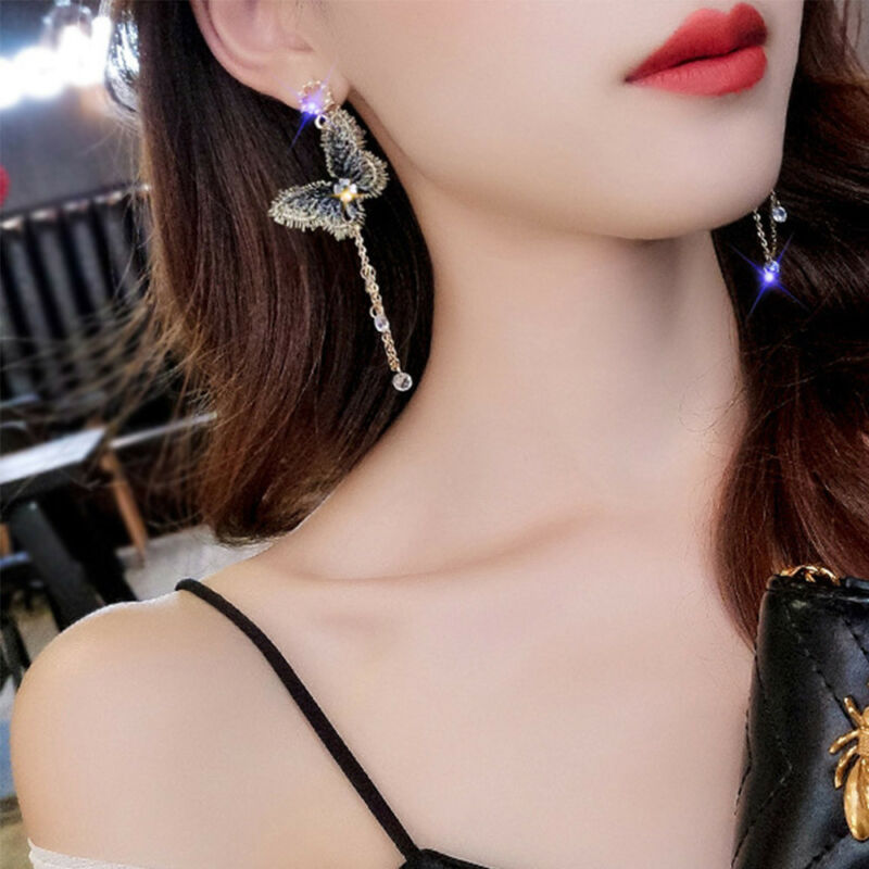 Fashion Embroidery Butterfly Crystal Tassel Drop Dangle Earrings Chain Jewelry