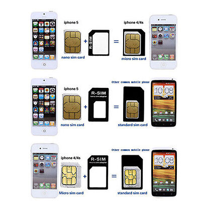 10Set Nano SIM Card To Micro Standard Adapter Converter Set For iPhone Samsung 6