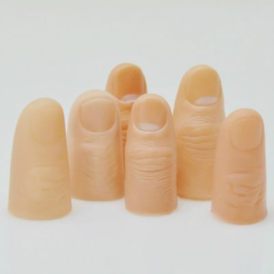 3Pcs Fun Fake Soft Thumb Tip Finger Magic Prank Trick Close Up Prop Tricks Toys 4
