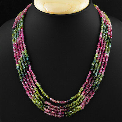 270.50 Cts Untreated Watermelon Tourmaline 5 Line Faceted Beads Necklace (Dg) 2