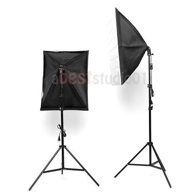 Photography Studio Backdrop Softbox Umbrella Lighting Kit Background Stand Set 4
