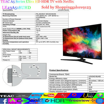 "TEAC 43"" Inch 4K UHD SMART TV Netflix Youtube HDR Made in Europe 3 Year warranty 12"
