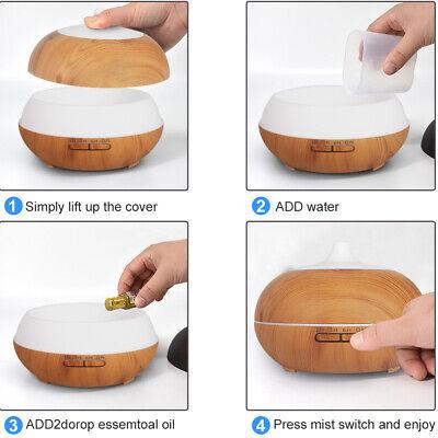 500ml Essential Oil Aroma Diffuser LED Ultrasonic Air Mist Aromatherapy AU Plug 6