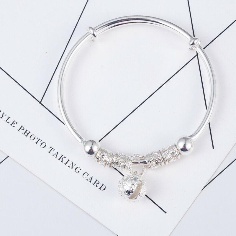 Fashion Women Jewelry 925 Sterling Silver Plated Cuff Bracelet Charm Bangle Gift 12