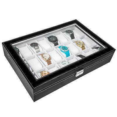 Uhrenbox Uhrenkoffer für 24 Uhren Uhrentruhe Uhrenkasten Uhrenschatulle s. weiß