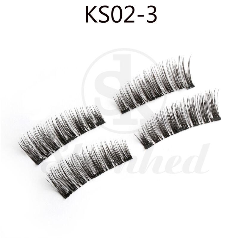SK 4 Pcs Faux Cils Magnétiques Triple Couverture Complète Réutilisable Fait Main
