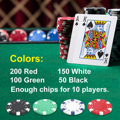 Pro 500PCS Poker Chips Set W/2 Cards +5 Dices+Aluminum Carry Case Table Game 3