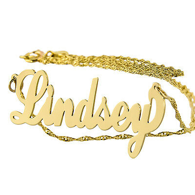 Small Solid 14K Gold Personalized Script Monogram Name necklace NN04