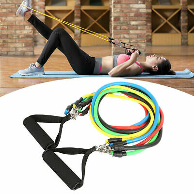 11PCS Set Resistance Bands Workout Exercise Yoga Crossfit Fitness Training Tubes 2