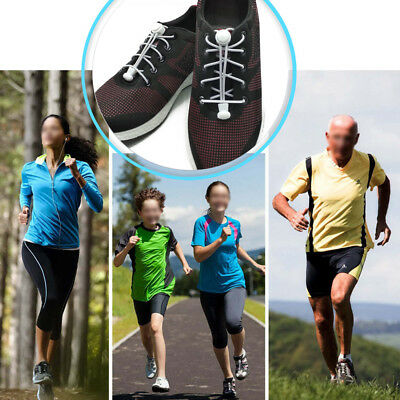 Shoe Laces Unsiex Adults Kids Elastic No Tie Locking Shoelaces Sports Sneaker AU 3
