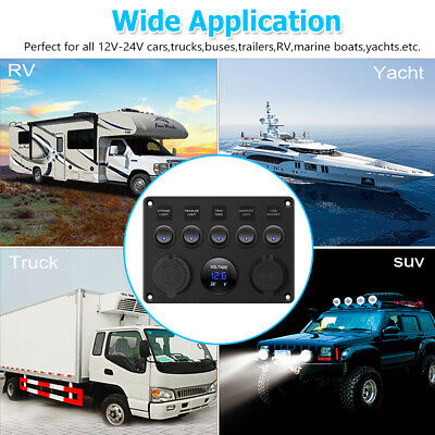 AU Switch Panel 12V USB ON-OFF Toggle 5 GANG Blue LED Rocker for Car Boat Marine 12