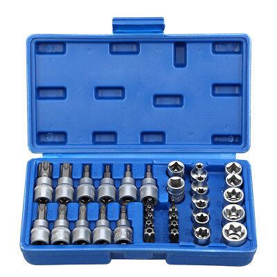 34pcs Coffret douilles clés intérieur embout étoile torx Femelle outils Portable 2