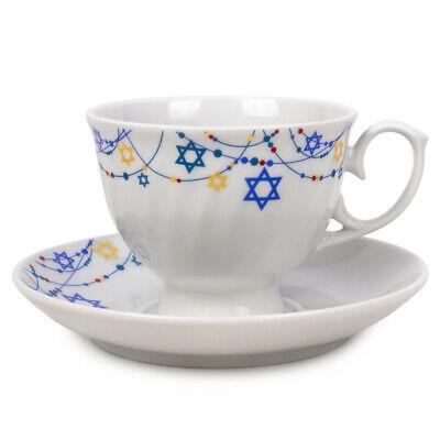 HANNUKAH Porcelain 4-pc Set Dessert Dinner Plate David Star Teacup Saucer
