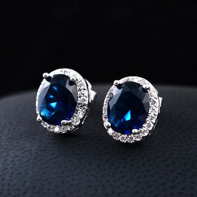 4ct CZ Stud Earrings OVAL Halo Simulated sapphire emerald amethyst ruby gift 5