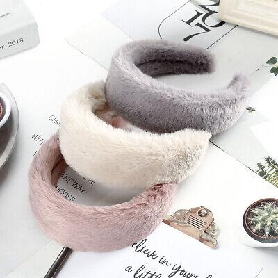 Women's Plush Wide Headband Hairband Soft Faux Fur Hair Band Hoop Accessories 7