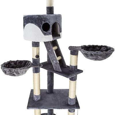 Arbre à chat griffoir grattoir jouet animaux douillet geant peluché gris blanc 4