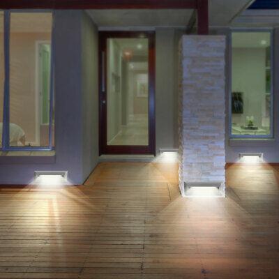 4x LED Exterior Pared Fachadas Lámparas Jardín Balcón Niveles Foco Gris Big Luz 3