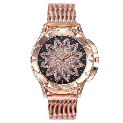 ASAMO modische Damen Armbanduhr mit Strass Steinen und Metall Armband AMA205 2