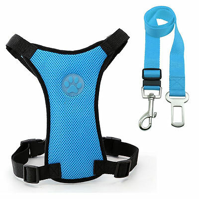 Breathable Air Mesh Dog Car Harness for Small Large Dogs Travel Seat belt Clip 5