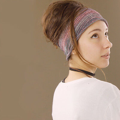 Headband Pink Blue Green Hippy Boho Scrunch Stretch Nepalese 100% Cotton Wide