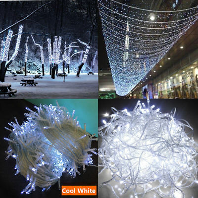 500LED 100M Warm Cool White Fairy Christmas String Strip Lights Party Outdoor
