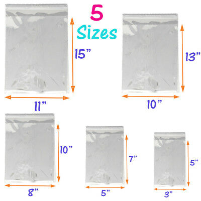 5 Sizes Crystal Clear Self Seal Transparent Plastic Cellophane Poly OPP Bags NEW 4