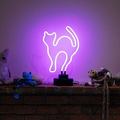 Neon Bar Pub Light Sign Table Lamp 3D SculptureTall Purple Kitty Cat UK STOCKIST 4