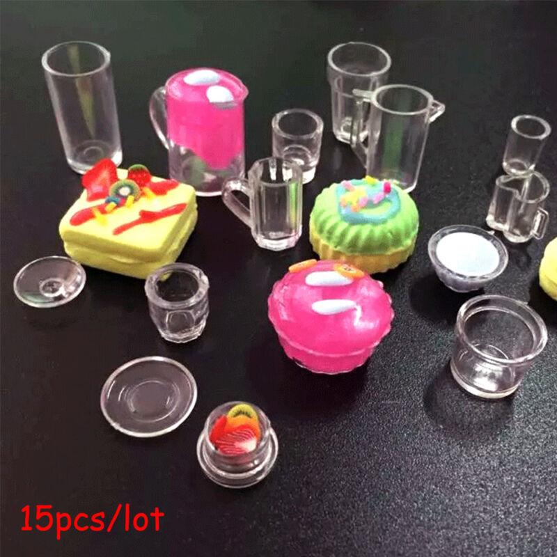 15Pcs 1:12 Scale Dollhouse Miniature Cup / Dish / Bowl Tableware Plate Set Toys- 3