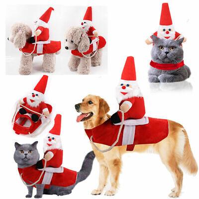 Christmas Santa Claus Pet Dog Fancy Dress Jacket Coat Costume Outfit Clothes UK 3