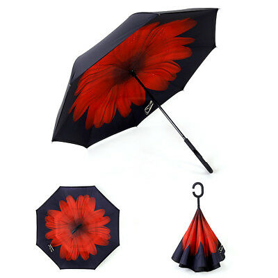 Windproof Upside Down Reverse Umbrella Double Layer Inside-Out Inverted C-Handle 4