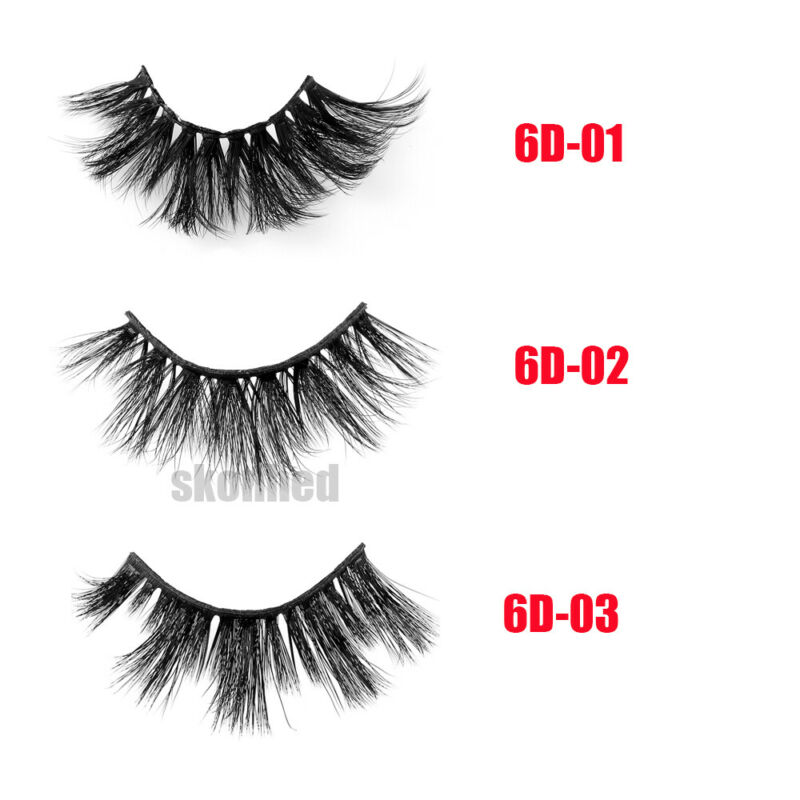 SKONHED 7 Pairs 25mm 6D Mink Hair False Eyelashes Thick Wispy Fluffy Lashes NEW 7